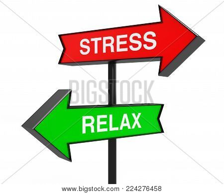 Sign Post with Directional Arrows to Stress and Relax on a white background. 3d Rendering.