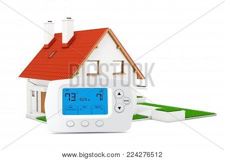 Modern Programming Wireless Thermostat Controller near Modern Cottage House with Red Roof and Green Grass on a white background. 3d Rendering.