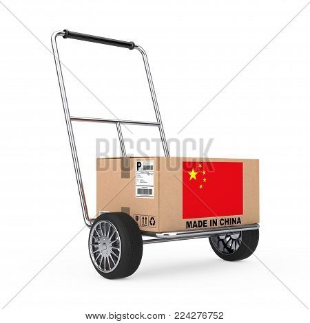 Cardboard Box with China Flag over Hand Truck on a white background. 3d Rendering