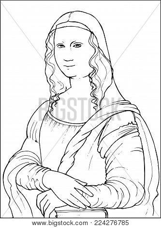 Vector illustration of Gioconda the Leonardo da Vinci famous painting