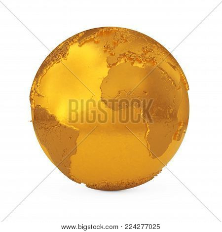 Realistic Topography Golden Metal Earth Globe on a white background. 3d Rendering