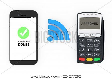 Wireless Payment Concept. Mobile Phone with POS Terminal and Wireless Sign on a white background. 3d Rendering.
