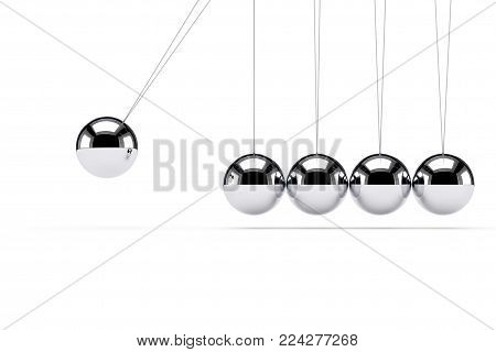 Classic Shiny Newton Cradle on a white background. 3d Rendering.