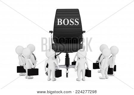 Businessmen Around Black Leather Boss Office Chair with Boss Sign on a white background. 3d Rendering