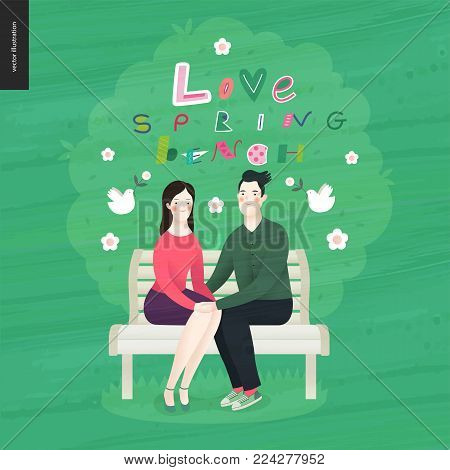 Love, spring, bench lettering - a couple in love sitting on a bench under the tree