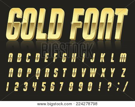 Color, bright font in the old style. Vector, vintage alphabet. Style 80 s, 90 s retro posters. Color gradient. Gold font.