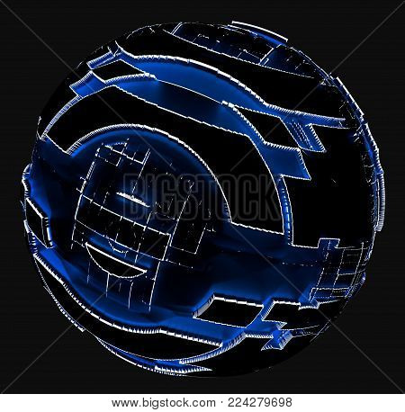 Abstract sphere of glowing circles and lines. Science and technology concept. Futuristic sphere. 3d illustration