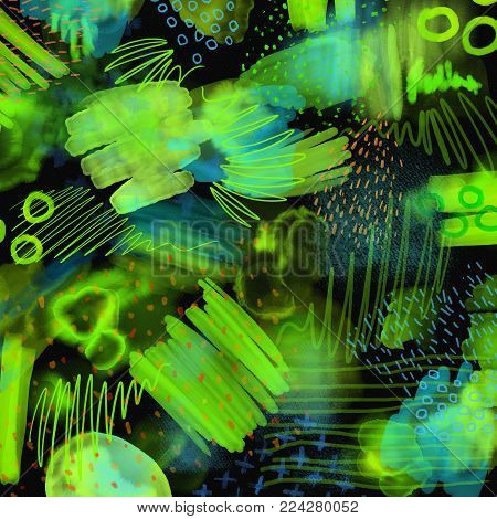 Abstract geometrical 80s and 90s hand draw pattern on black background. watercolor brush paint pattern. Black, green and blue background for textile, fabric, wrapping paper, web.