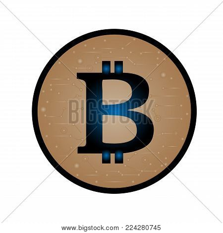 Coin with bitcoin sign. Money and finance symbol Cryptocurrency. Vector Illustration isolated on white background. Cryptography currency