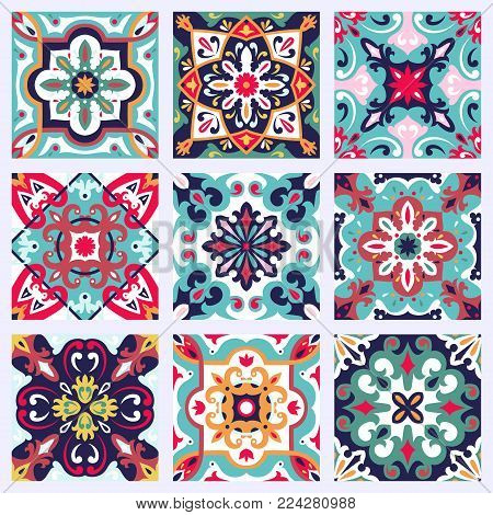 Set With Beautiful Seamless Ornamental Tile Background.