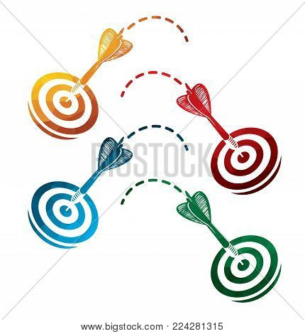 colorful darts icons on white background. isolated target icons. eps8. on layers.