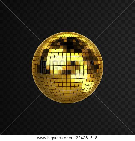 Discoball isolated on black transparent background. Vector illustration of mirrorball. Nightlife concept. Shiny 3d sphere