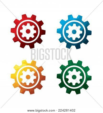colorful cogwheel icons on white background. isolated gear icons. eps8. on layers.