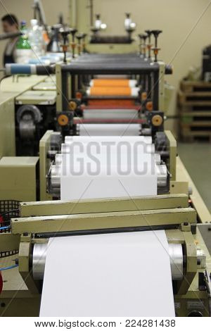 Rechitsa, Belarus - April 12, 2013: Polygraphic Machine For The Production Of Trade Stickers.
