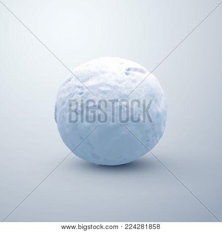 Realistic snowball. Vector seasonal illustration. Winter decoration. Textured snow sphere.