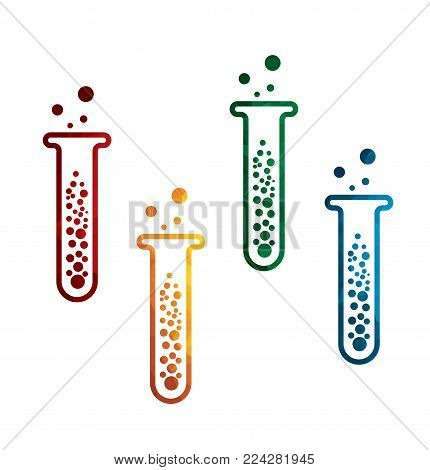 colorful test tube icons on white background. isolated flask icons. eps8. on layers.