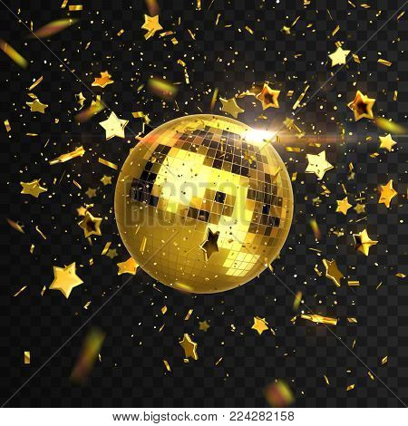Discoball, confetti and stars isolated on black transparent background. Vector illustration of mirrorball. Nightlife concept. Shiny 3d sphere