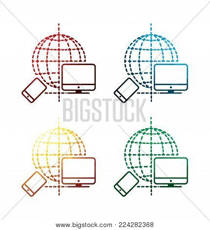 colorful devices connection icons on white background. isolated global network icons. eps8. on layers.
