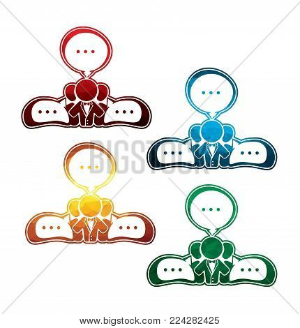 colorful team networking icons on white background. isolated team communication icons. eps8. on layers.