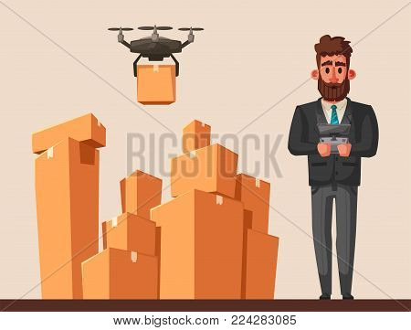 Drone for air delivery. Modern technologies. Moving and post. Cartoon vector illustration. Remove control. For web and print.