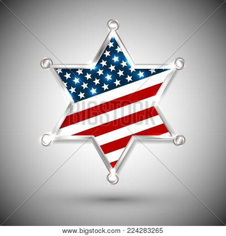 Sheriff badge greeting card with star of USA. poster