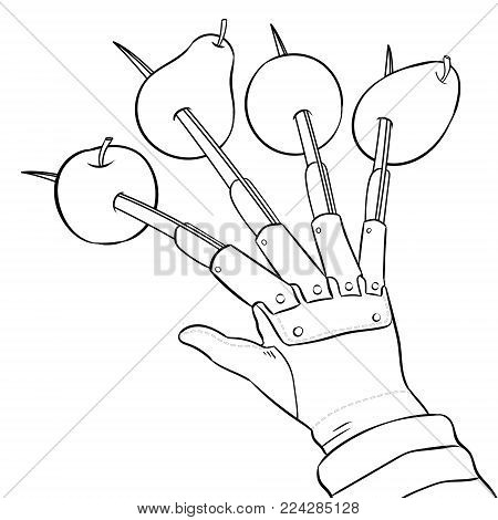 Fruits are strung on blades of hand coloring vector illustration. Isolated image on white background. Comic book style imitation.