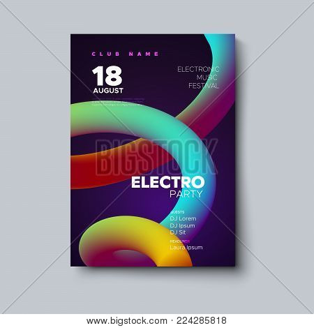 Electronic music festival poster mockup. Electronic music festival flyer. Vector illustration of abstract colorful gradient liquid shape. Club invitation template with vivid smooth fluid stream