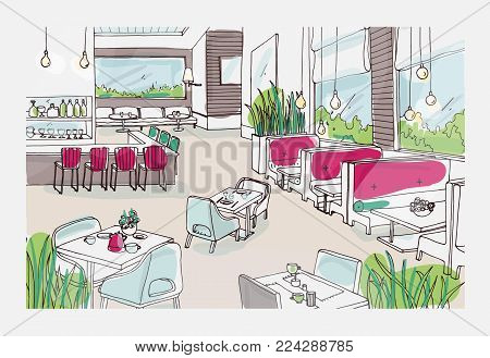 Colored freehand sketch of furnished interior of fancy restaurant or bistro. Colorful drawing of modern spacious cafe or coffee house full of stylish furnishings. Hand drawn vector illustration