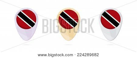 Map markers with flag of Trinidad and Tobago, 3 color versions.