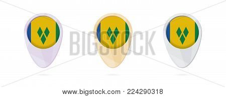 Map markers with flag of Saint Vincent and the Grenadines, 3 color versions.