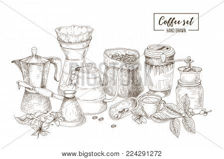 Set of kitchen utensils and tools for coffee making and drinking - moka pot, turkish cezve, kettle with long spout, glass dripper, grinder, paper cup. Hand drawn vector illustration in etching style