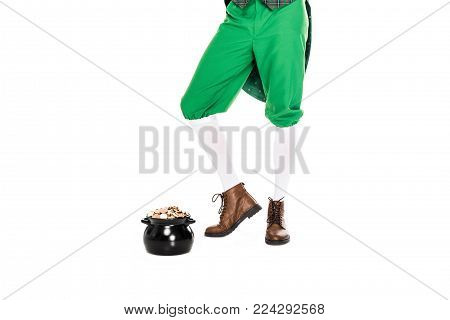 low section of leprechaun with pot of gold, isolated on white