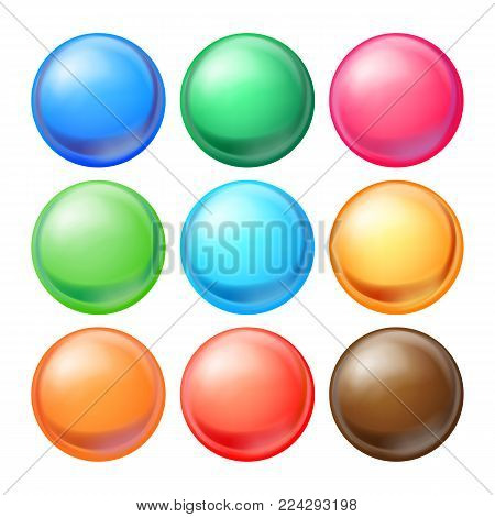 Round Spheres Set Vector. Set Opaque Multicolored Spheres With Glares, Shadows. Abstract Ellipse, Ball, Bubble, Button, Badge. Isolated Illustration
