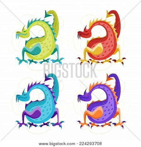 Cartoon Color Fantasy Animal Dragon Set Cute Magic Air or Water Mythology Monster Flat Style Design. Vector illustration