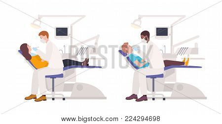 Bundle of dentists examining male and female patients lying in chairs. Set of dental surgeons treating man and woman isolated on white background. Flat cartoon characters. Colored vector illustration