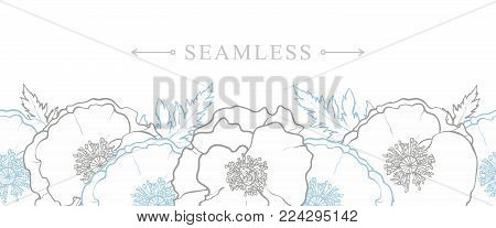Endless, seamless border made by hand-drawn uncolored poppy flowers, vector illustration isolated on white background. Horizontal banner with endless border of hand-drawn poppy flowers