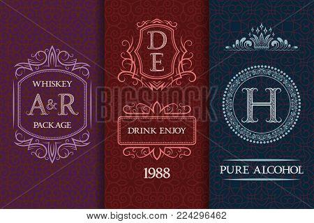 Beverage packaging design. Set of booze bottles labels.