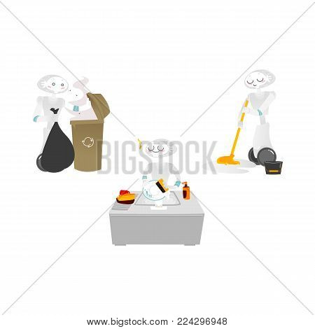 Vector robots, artificial intelligence in modern life concept. Wheeled cyborg assistants helping with household chores, cleaning floor, washing dishes, taking out garbage. Isolated illustration