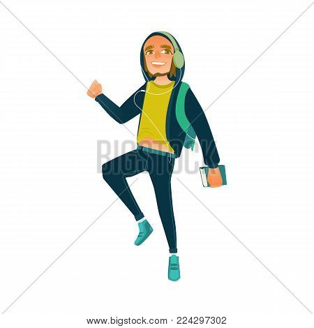 Vector cartoon male teen student jumping. Happy man in modern casual clothing, jeans, hooded pullover, headphone holding books backpack having fun. University college character isolated illustration