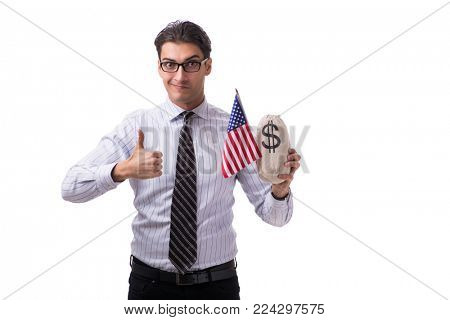 Young businessman with american flag and money sack on white