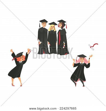 vector flat college, university happy graduate characters celebrating , boys and girls in graduation gown, cap holding diploma throwing up dancing. Isolated illustration on a white background.