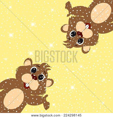 Template for greeting card on the day of a marmot