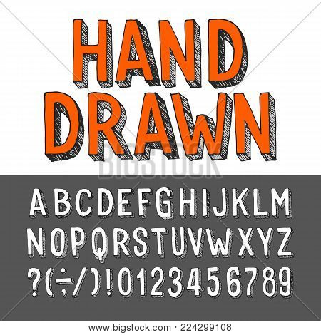 Hand drawn alphabet font. Grunge letters and numbers. Stock vector typeset for your headers or any typography design.