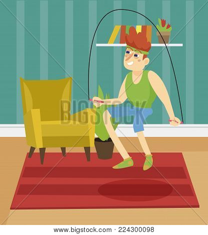 Young man skipping with jump rope on the background of living room apartment colorful vector illustration in cartoon style.