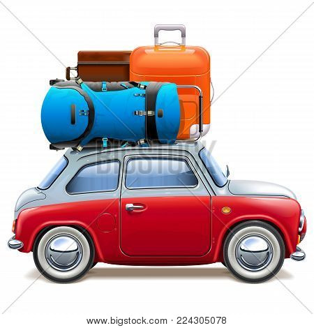 Vector Red Car with Baggage isolated on white background
