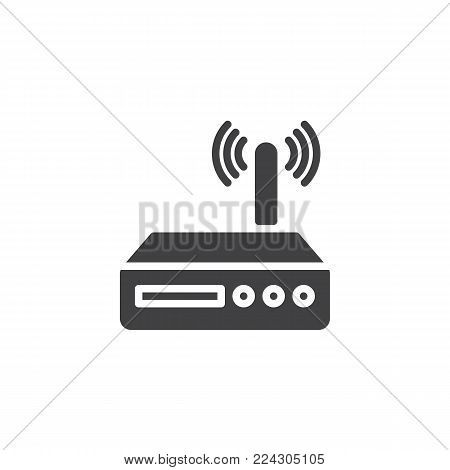 Wi-fi router icon vector, filled flat sign, solid pictogram isolated on white. Wireless modem symbol, logo illustration.