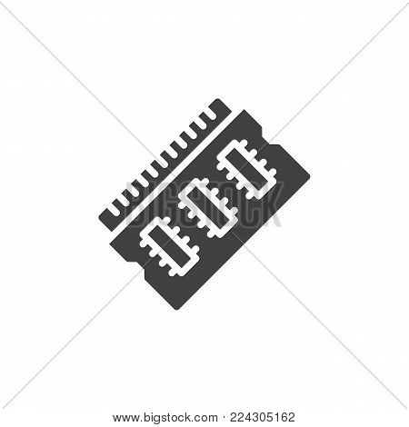 Ram memory icon vector, filled flat sign, solid pictogram isolated on white. Random Access Memory symbol, logo illustration.