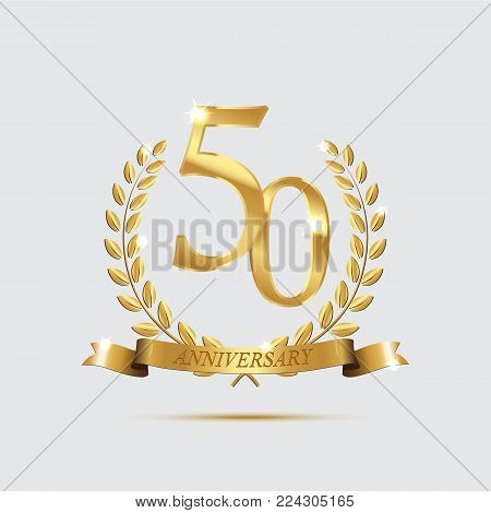 Golden laurel wreaths with ribbons and fifty anniversary year symbol on dark background. 50 anniversary golden symbol. Vector anniversary design element