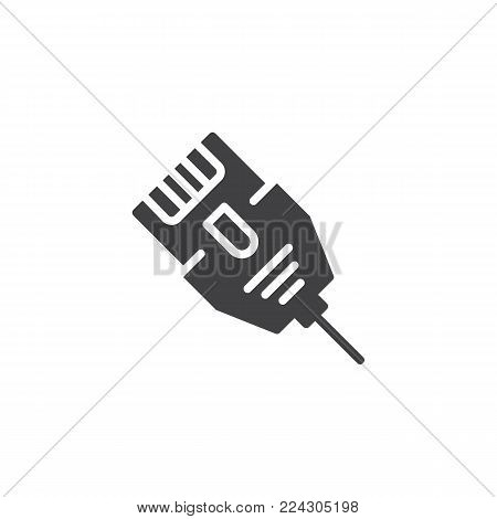 LAN connector cable icon vector, filled flat sign, solid pictogram isolated on white. Ethernet cable symbol, logo illustration.