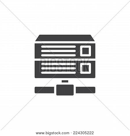Database server icon vector, filled flat sign, solid pictogram isolated on white. Computer rack server symbol, logo illustration.
